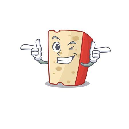 mascot cartoon design of dutch cheese with Wink eye. Vector illustration 向量圖像