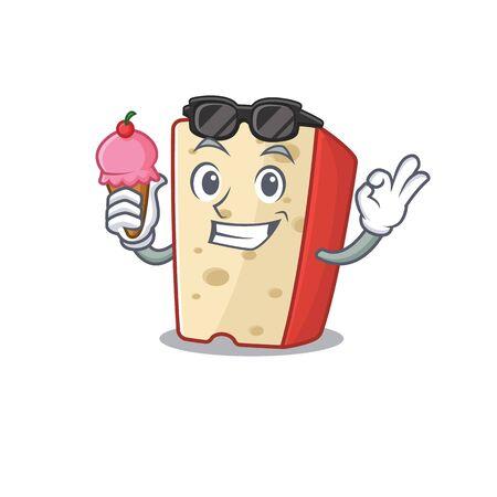 Dutch cheese mascot cartoon design with ice cream. Vector illustration