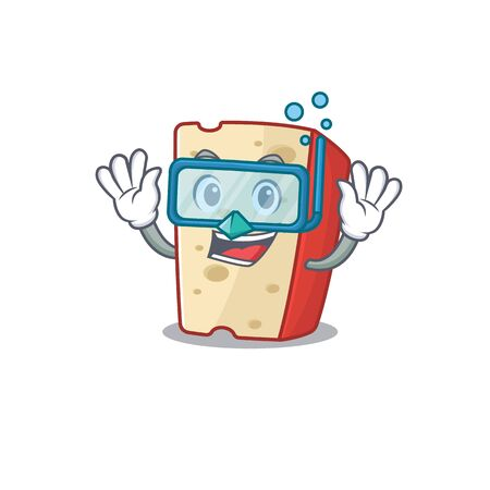 cartoon character of dutch cheese wearing Diving glasses. Vector illustration 向量圖像