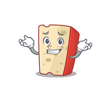 Super Funny Grinning dutch cheese mascot cartoon style. Vector illustration 向量圖像