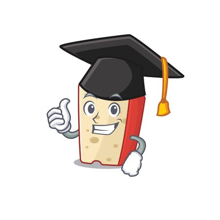 happy and proud of dutch cheese wearing a black Graduation hat. Vector illustration