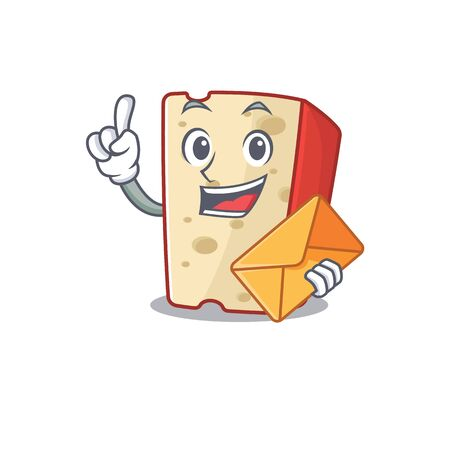 Cheerfully dutch cheese mascot design with envelope. Vector illustration