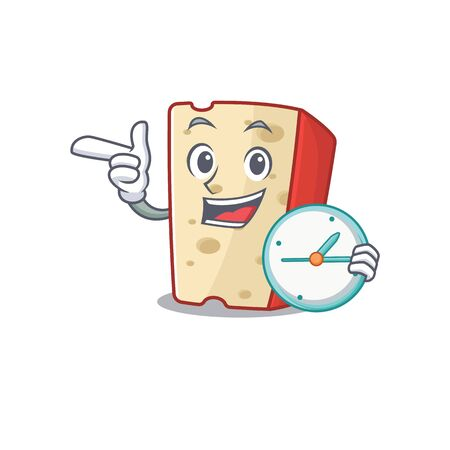 cartoon character style dutch cheese having clock. Vector illustration