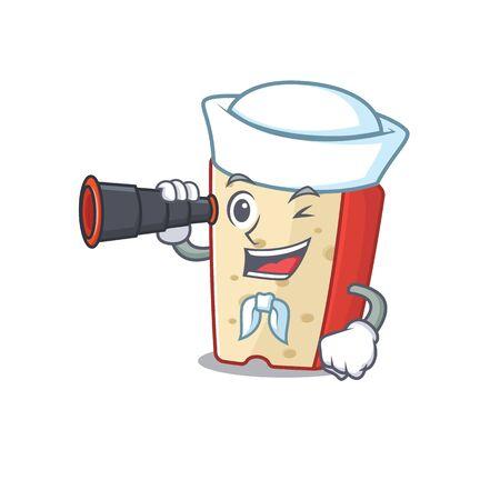 Dutch cheese cartoon happy Sailor style with binocular Ilustrace