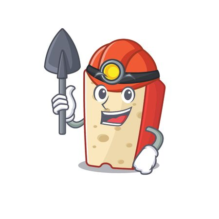 Cool clever Miner dutch cheese cartoon character design