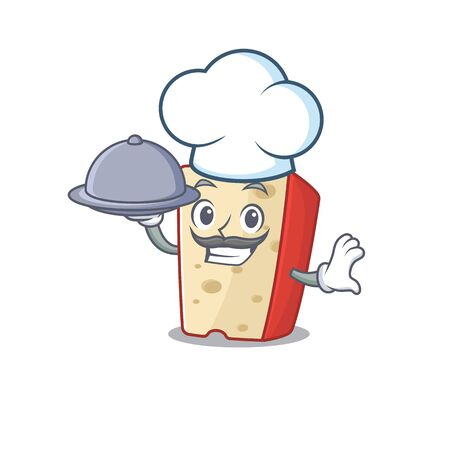 cartoon design of dutch cheese as a Chef having food on tray