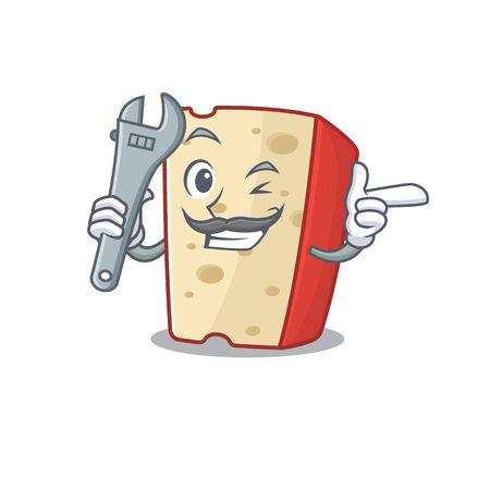 Smart Mechanic dutch cheese cartoon character design Ilustrace