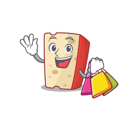 A happy rich dutch cheese waving and holding Shopping bag. Vector illustration 向量圖像