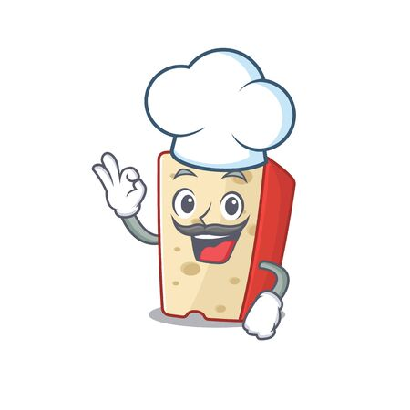 Dutch cheese cartoon character wearing costume of chef and white hat. Vector illustration