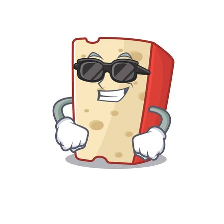 Super cool dutch cheese character wearing black glasses. Vector illustration