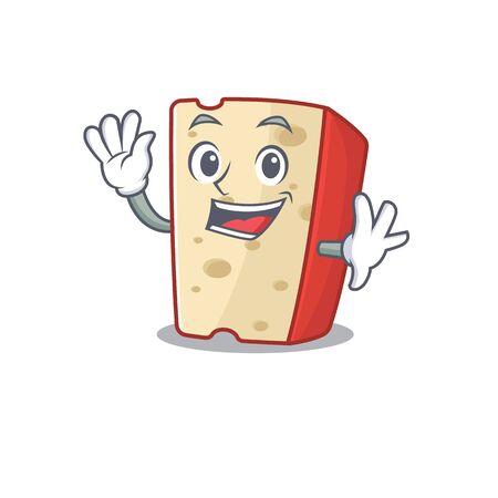 Waving friendly dutch cheese cartoon character design. Vector illustration