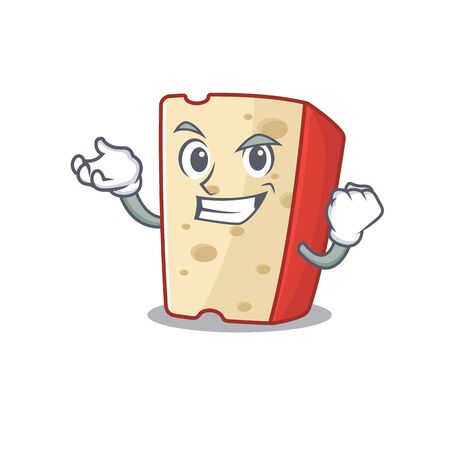 Happy confident Successful dutch cheese cartoon character style. Vector illustration
