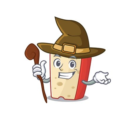 cartoon mascot style of dutch cheese dressed as a witch. Vector illustration