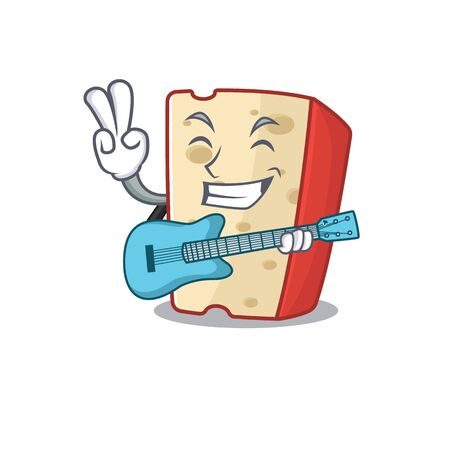 A mascot of dutch cheese performance with guitar. Vector illustration Illustration