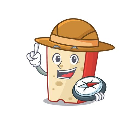 Dutch cheese stylized Explorer having a compass. Vector illustration