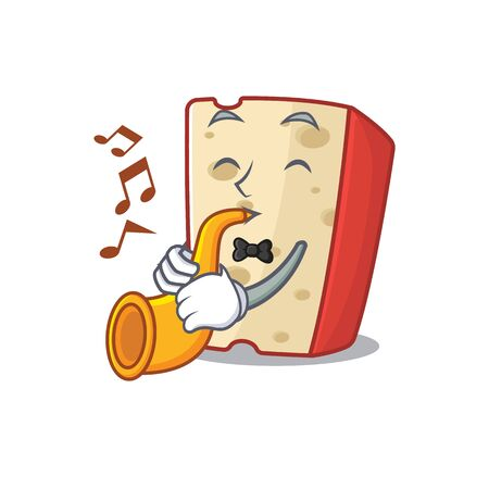 cartoon character style of dutch cheese performance with trumpet. Vector illustration