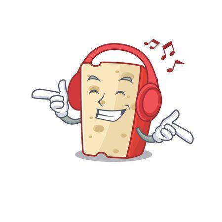 Listening music dutch cheese mascot cartoon character design