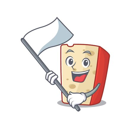 Funny dutch cheese cartoon character style holding a standing flag. Vector illustration