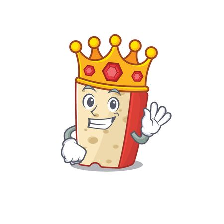 A stunning of dutch cheese stylized of King on cartoon mascot style. Vector illustration Çizim