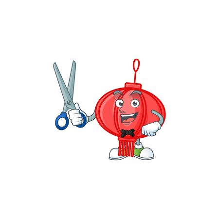 Cool friendly barber chinese lampion cartoon character style 向量圖像