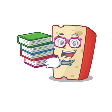 Cool and clever Student dutch cheese mascot cartoon with book