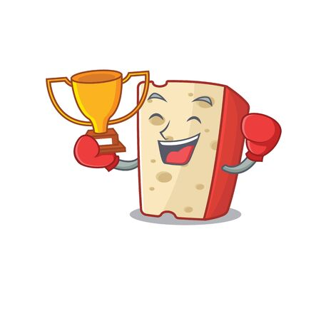 fantastic Boxing winner of dutch cheese in mascot cartoon style