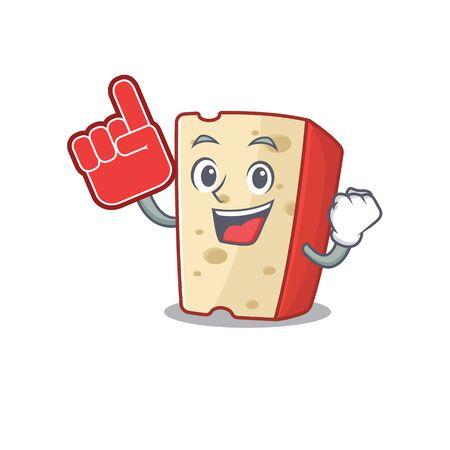 Dutch cheese mascot cartoon style holding a Foam finger