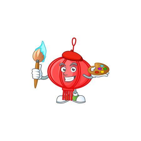 Smart chinese lampion painter mascot icon with brush