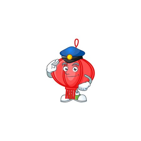 A character design of chinese lampion in a Police officer costume