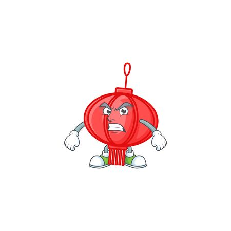 cartoon character of chinese lampion with angry face 일러스트