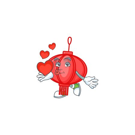 Funny Face chinese lampion cartoon character holding a heart Illustration