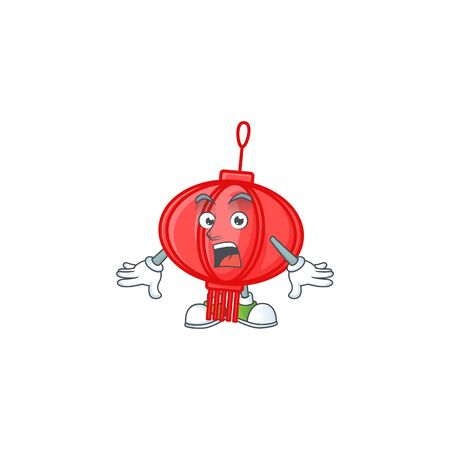 Chinese lampion cartoon character design on a surprised gesture