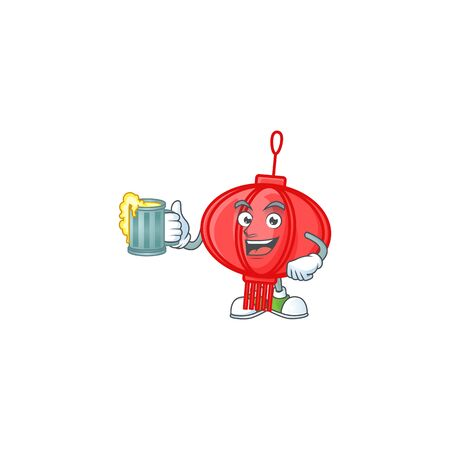 Happy chinese lampion mascot design with a big glass