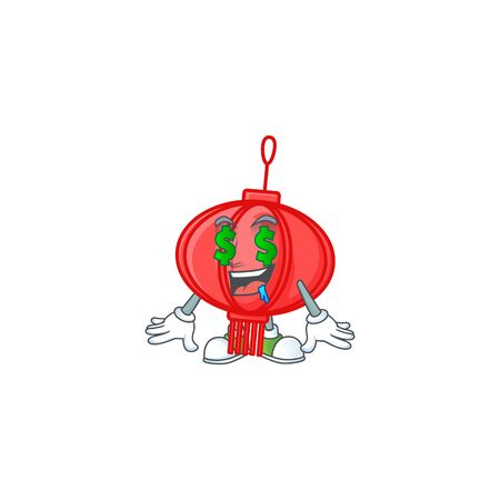 Happy rich chinese lampion with Money eye cartoon character style Иллюстрация