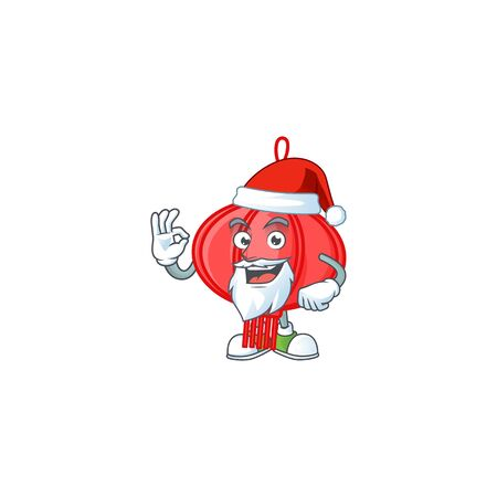 A picture of Santa chinese lampion mascot picture style with ok finger