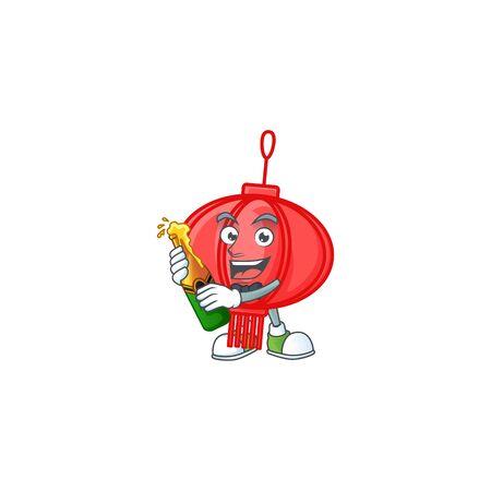 mascot cartoon design of chinese lampion with bottle of beer Ilustração