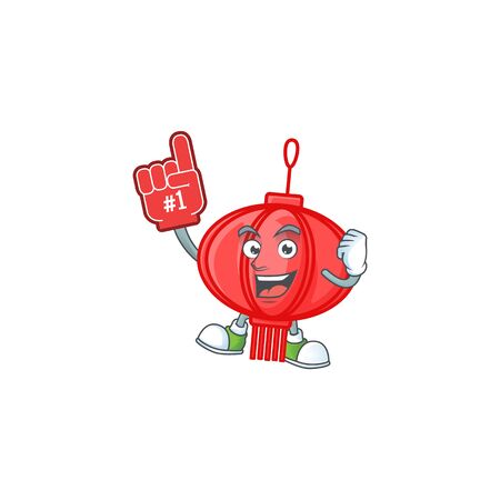 Chinese lampion mascot cartoon style holding a Foam finger Illustration