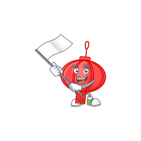 Funny chinese lampion cartoon character style holding a standing flag 向量圖像