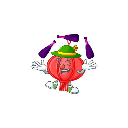 Smart chinese lampion cartoon character design playing Juggling Иллюстрация