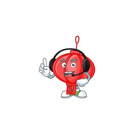 Smiley chinese lampion cartoon character design wearing headphone