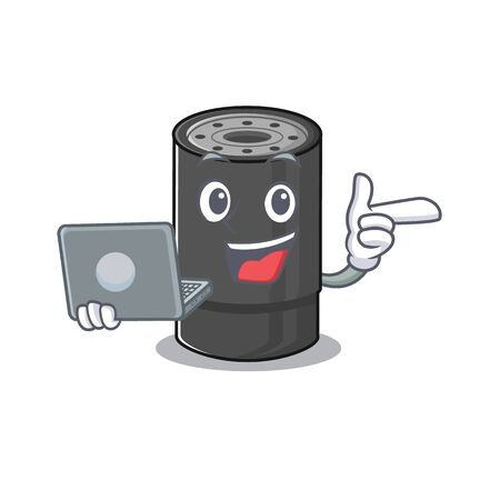 Smart character of oil filter working with laptop Illustration