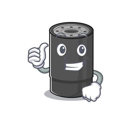 Cheerfully oil filter making Thumbs up gesture. Vector illustration
