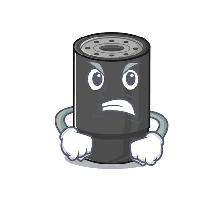 Oil filter cartoon character design having angry face