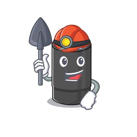 Cool clever Miner oil filter cartoon character design