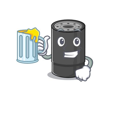 Happy oil filter mascot design with a big glass Ilustração