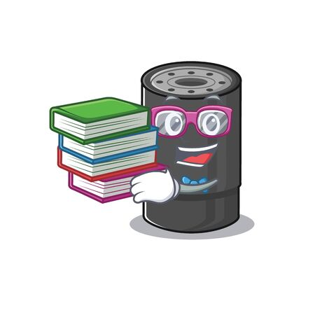 Cool and clever Student oil filter mascot cartoon with book. Vector illustration