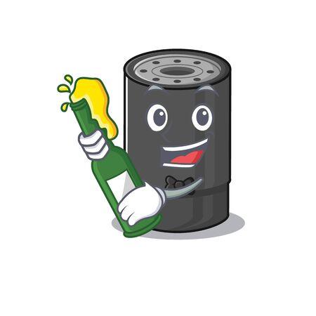 mascot cartoon design of oil filter with bottle of beer. Vector illustration
