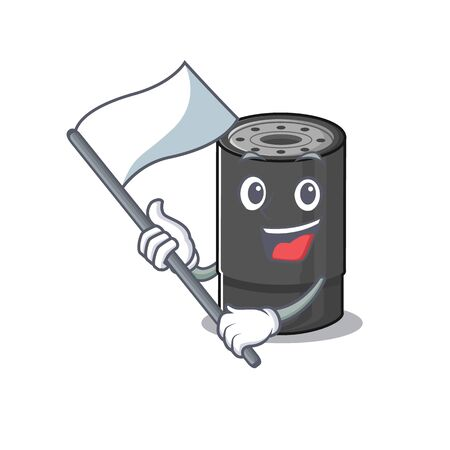 Funny oil filter cartoon character style holding a standing flag. Vector illustration Archivio Fotografico - 138525408