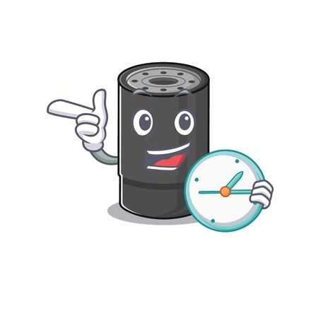 cartoon character style oil filter having clock. Vector illustration