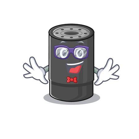 cartoon character of Geek oil filter design